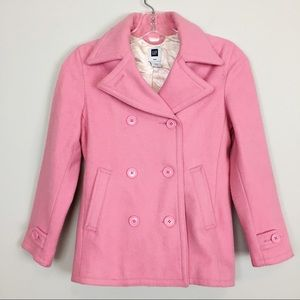 🌸 GAP Pink Wool Pea Coat, Girls, Size Medium